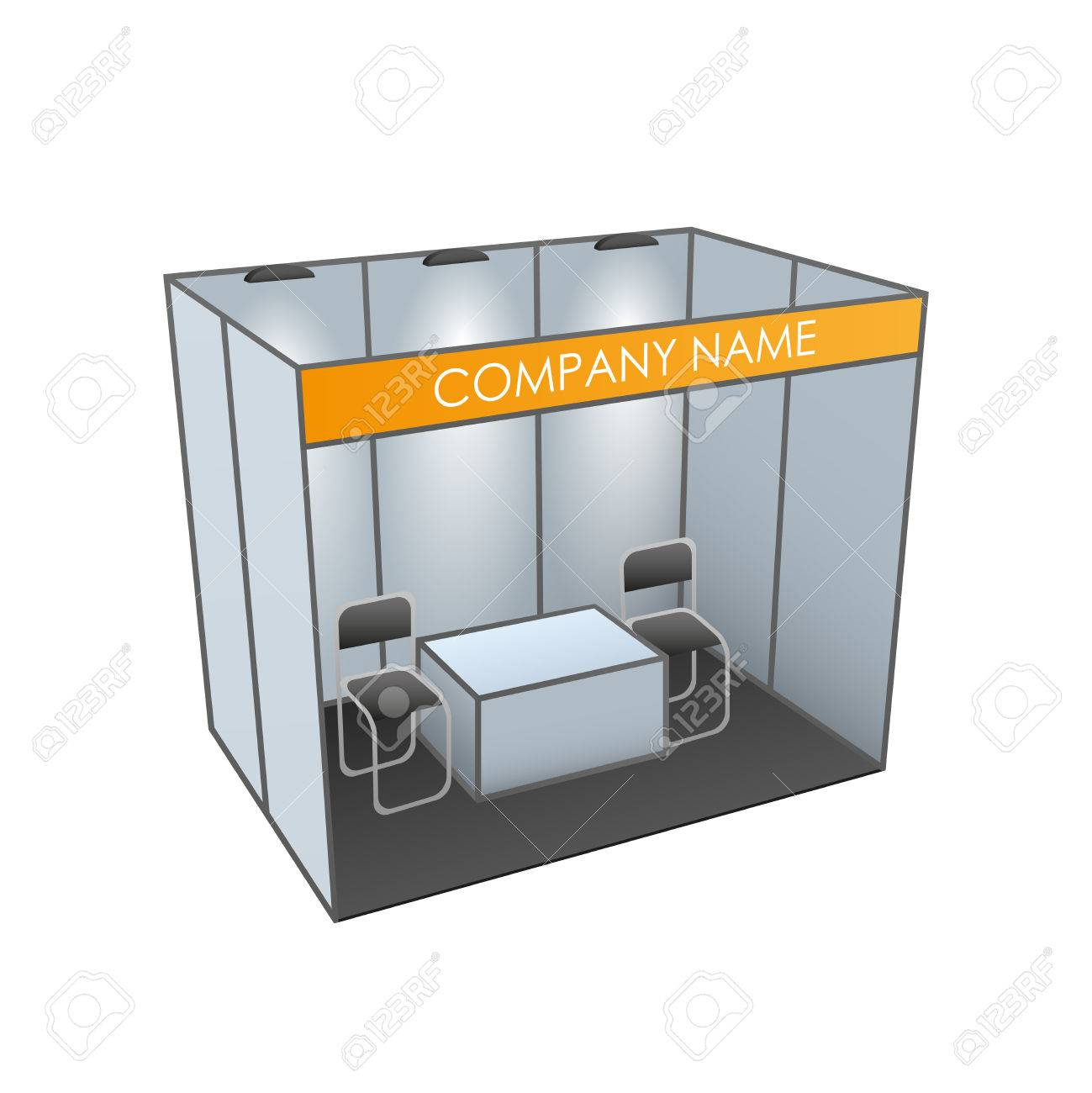 Exhibition Booth Table : Exhibition stand with table and chairs booth template vector