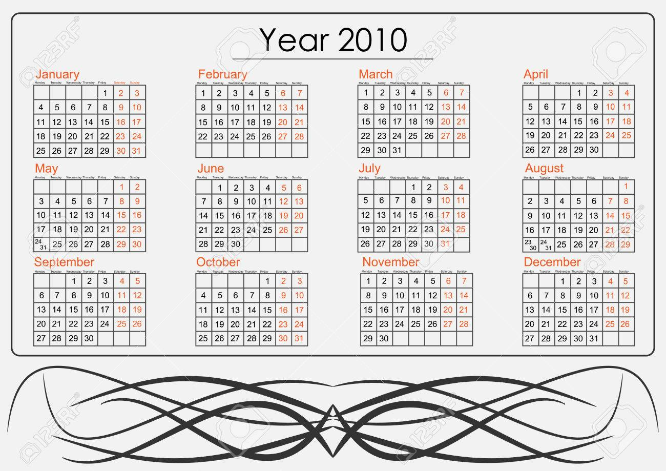 Full 2010 Calendar With Tribal Whirls Royalty Free Cliparts ...