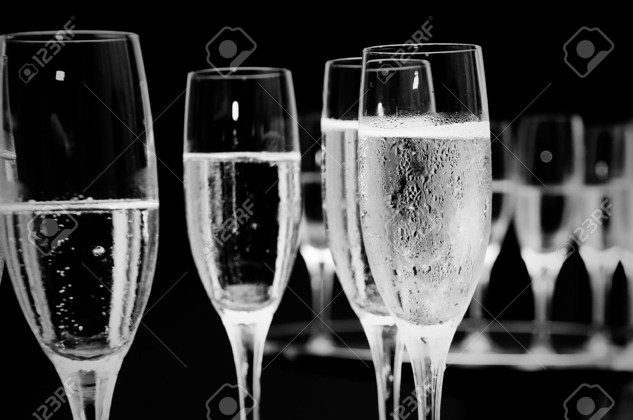 black and white champagne glasses at a function. Stock Photo - 6570507