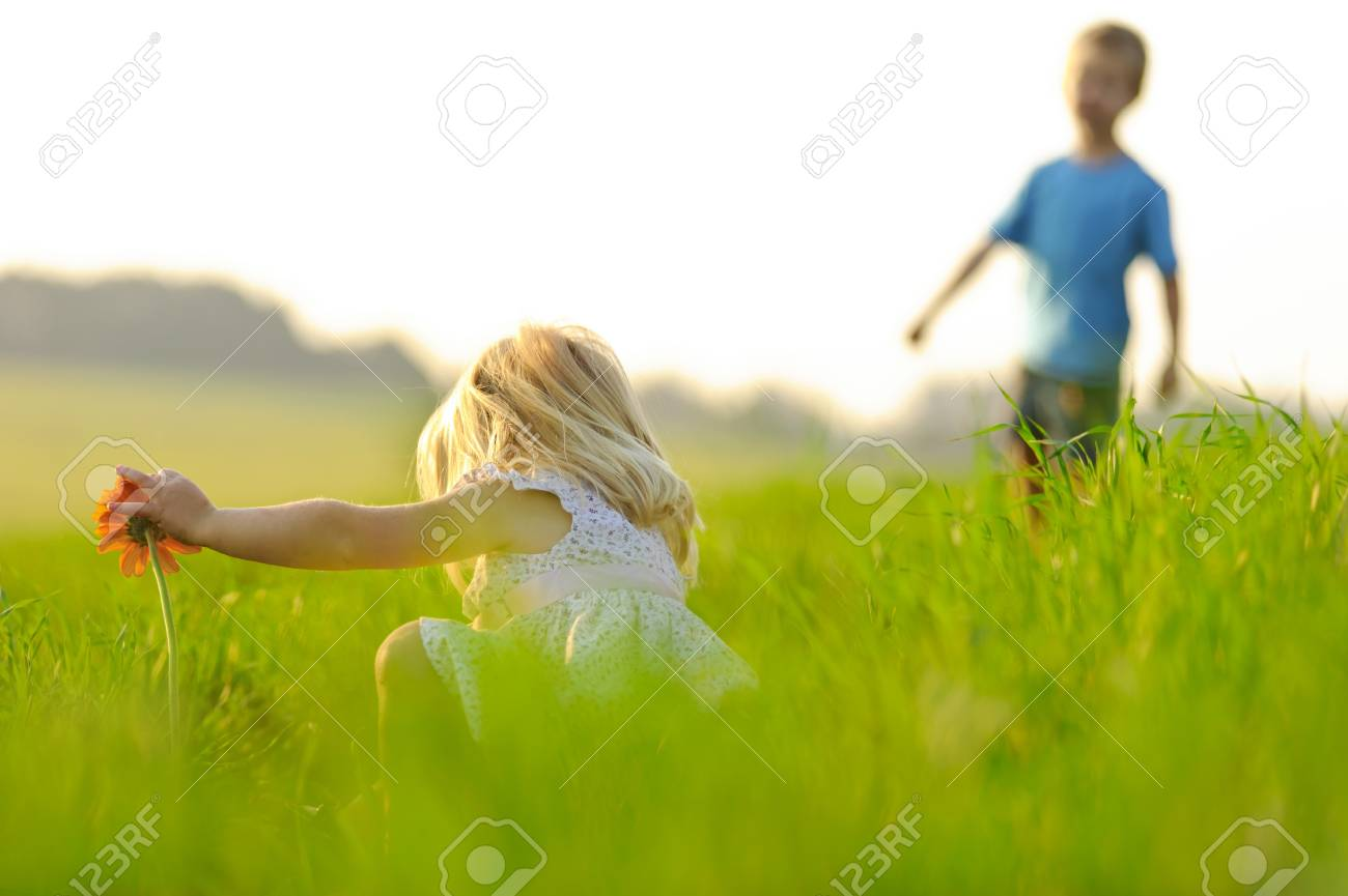 Little girl picks a flower in a meadow, beautiful sunlight lighting. Stock Photo - 7378744