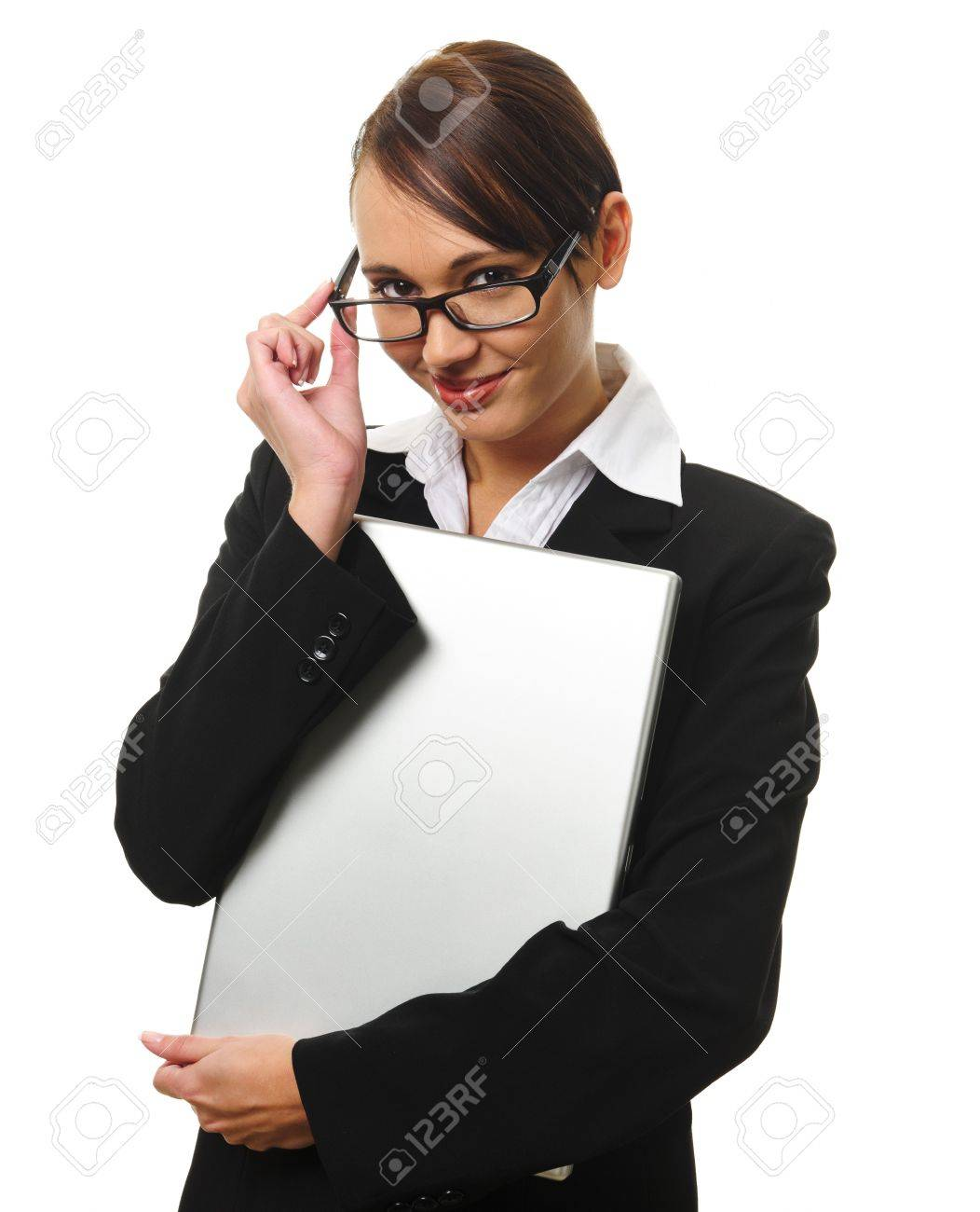young successful career w works from her laptop stock photo young successful career w holds her laptop photo