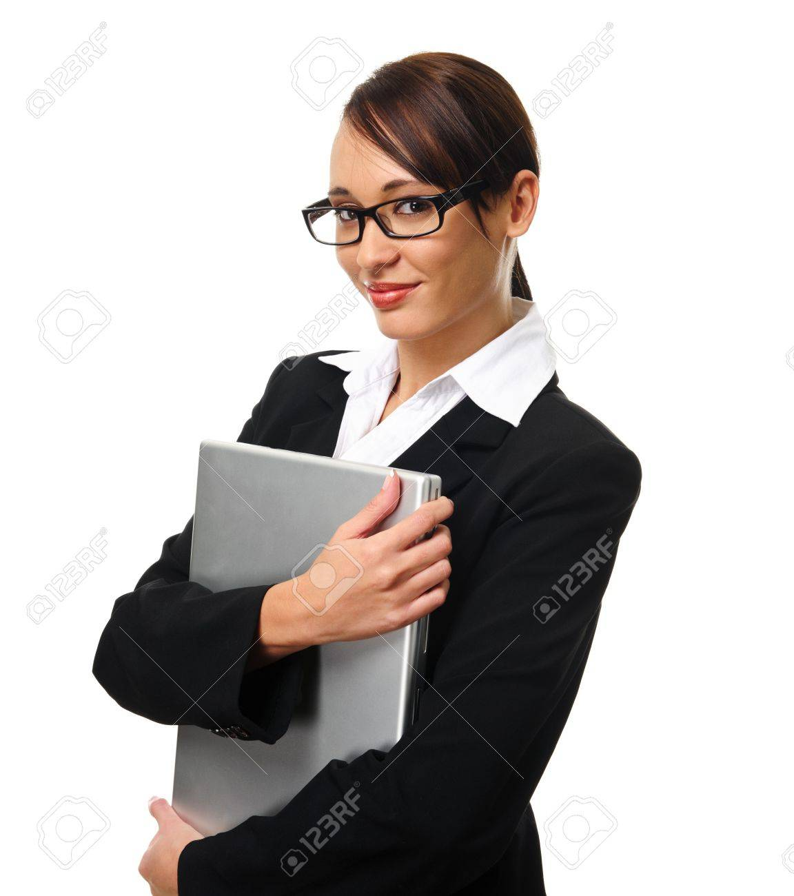 Young Successful Career Woman Holds Her Laptop Stock Photo ...