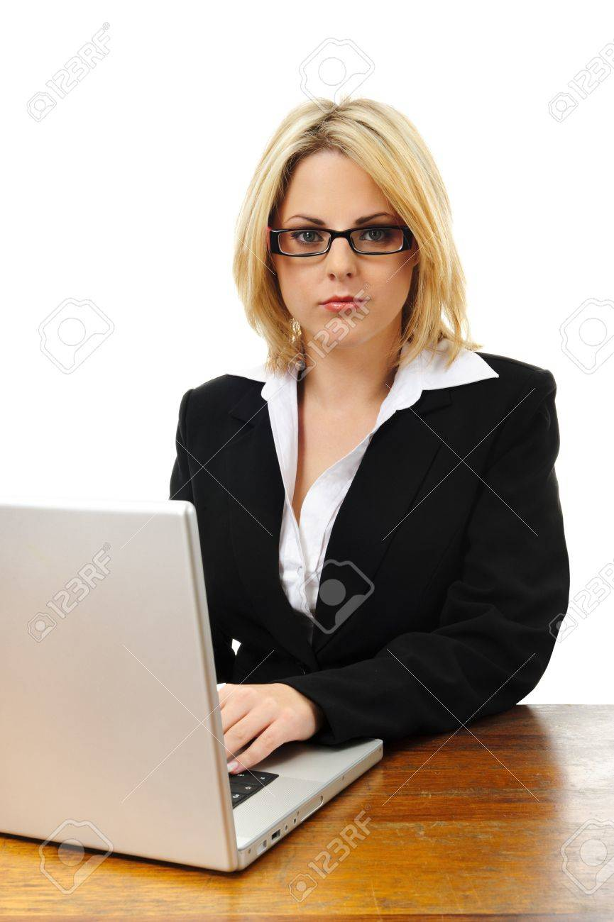 young successful w working at desk laptop isolated on stock photo young successful w working at desk laptop isolated on white