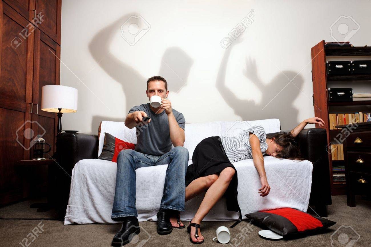 Shadows showing what just happened between the couple, a domestic abuse concept Stock Photo - 8726616
