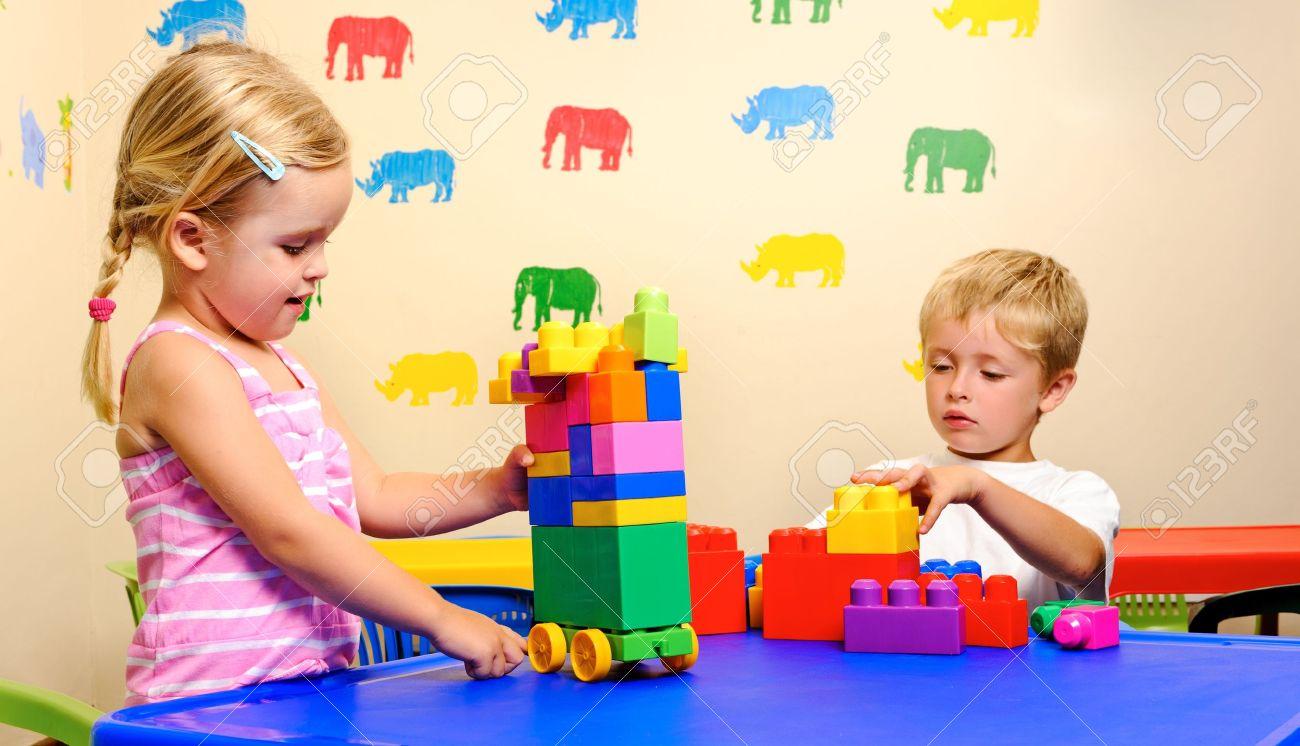 stock photo preschool children have fun with building blocks - Images Of Preschool Children