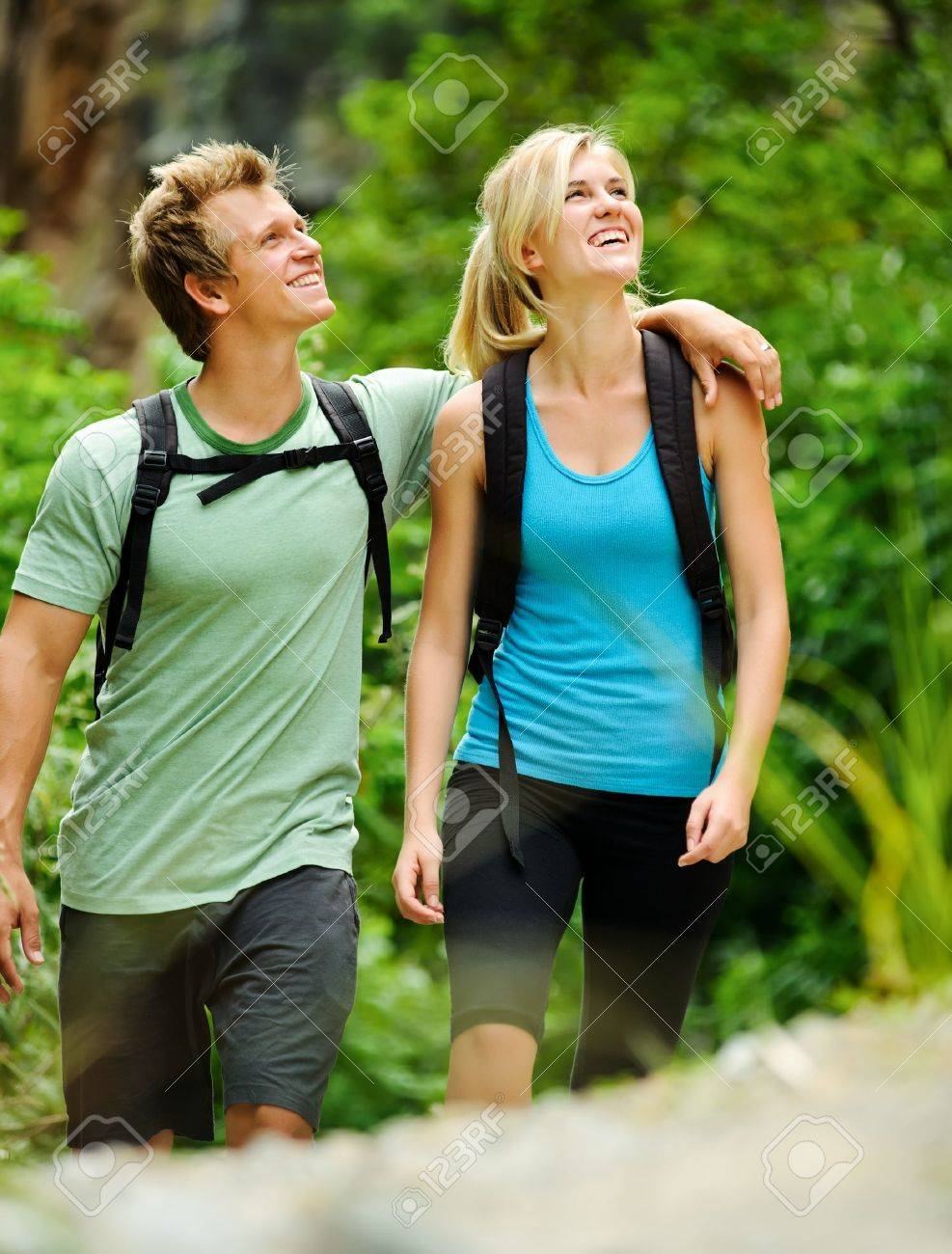 cute couple have fun together outdoors on a hike Stock Photo - 8921592