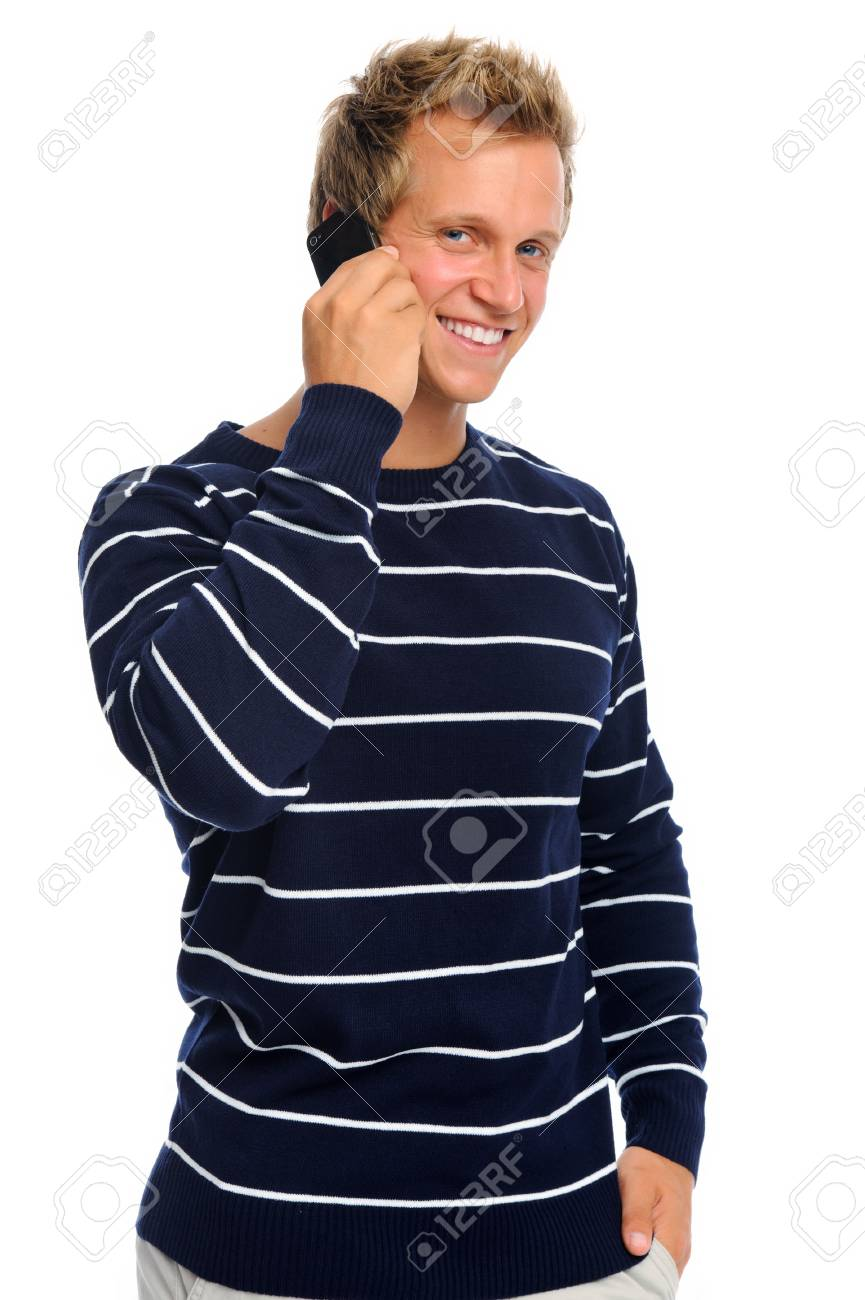 Attractive caucasian man talking on his telephone, isolated on white Stock Photo - 9967635