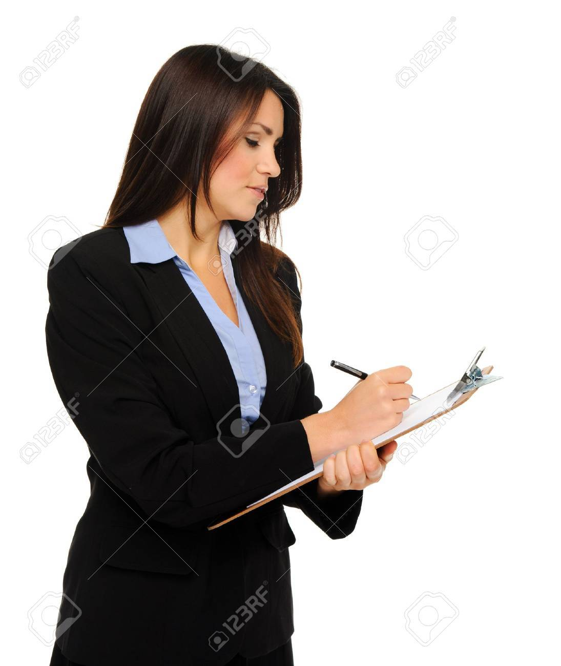 Researcher in formal business attire writes information on clipboard, isolated on white Stock Photo - 10802970
