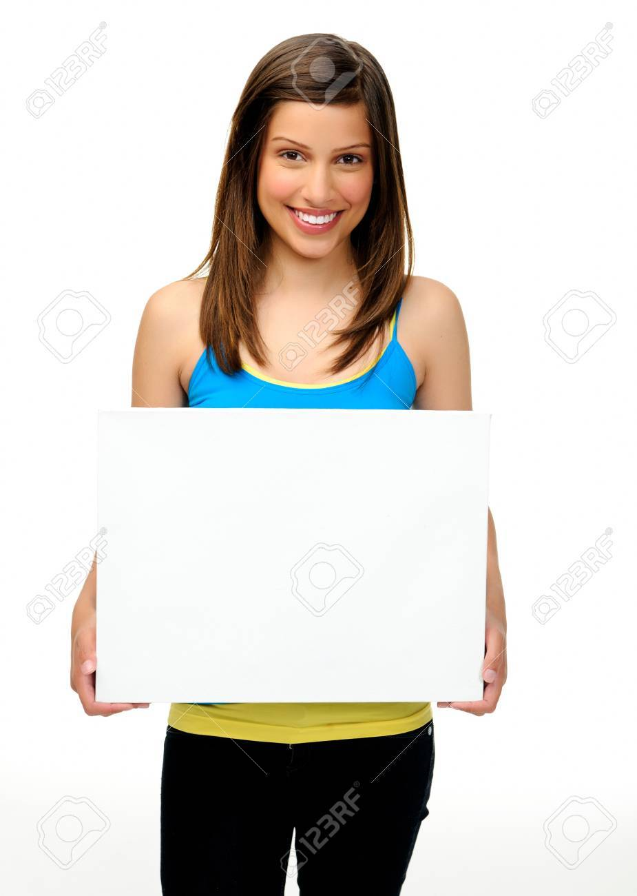 young woman holds a blank board providing copyspace for any advertising. friendly, approachable and smiling Stock Photo - 11070255