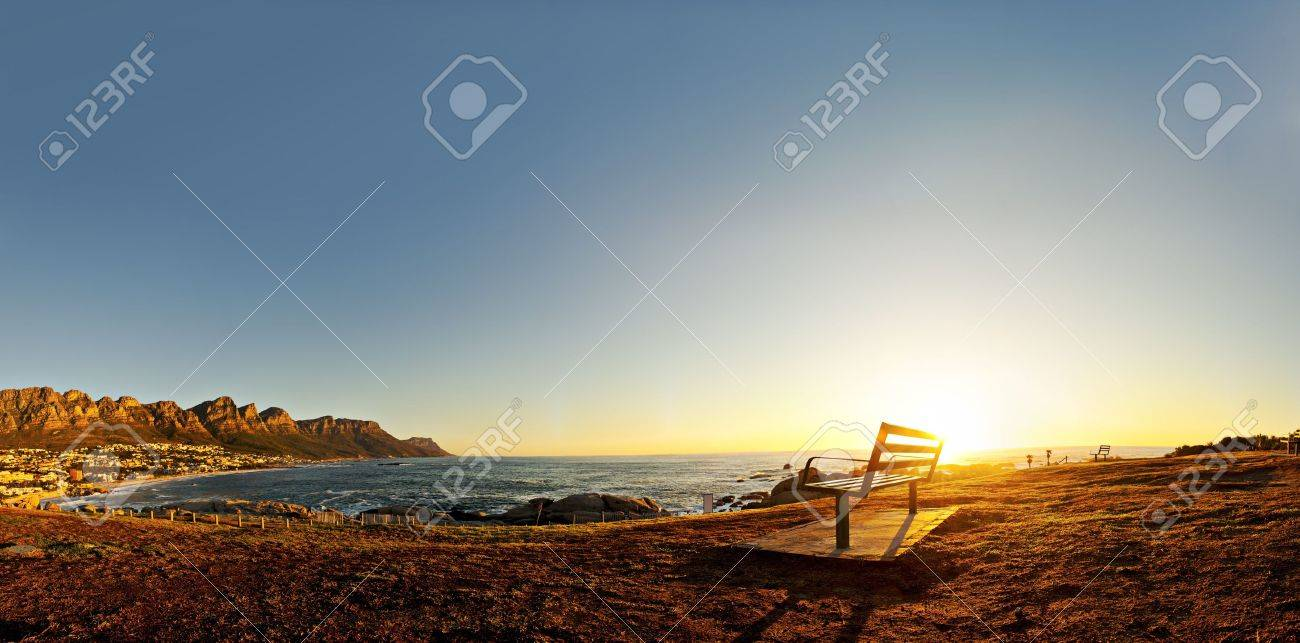Beautiful Sunset Over Camps Bay In Cape Town South Africa Stock Photo