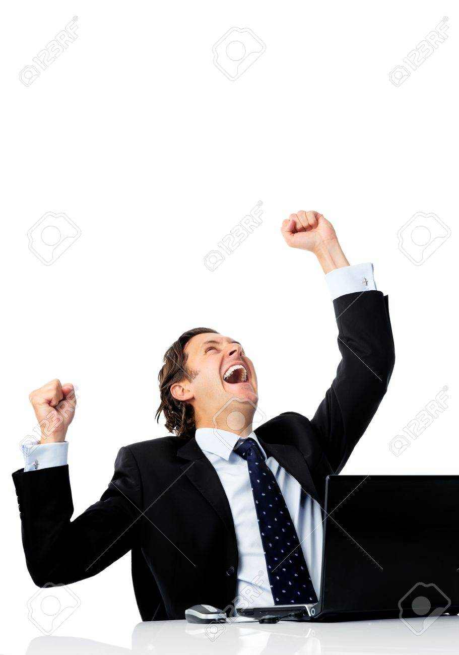 triumphant office worker succeded in striking a good deal online stock photo triumphant office worker succeded in striking a good deal online