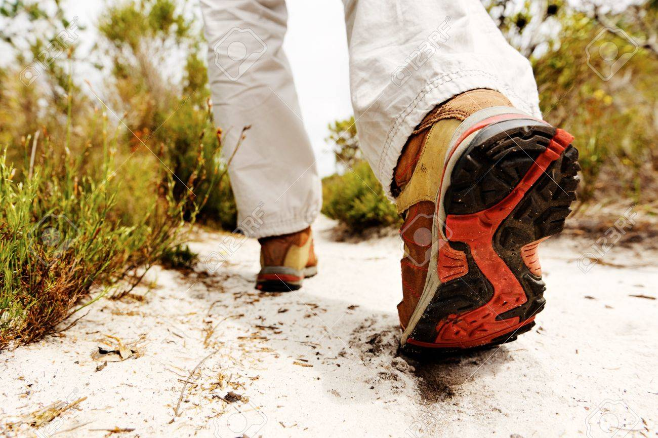 person hiking outdoors, boot on sandly pathway in the wilderness. trekking Stock Photo - 11898662