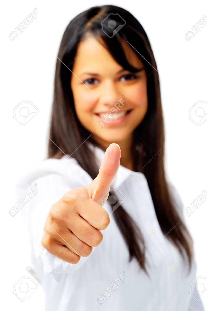 Smiling businesswoman with thumbs up, isolated on white Stock Photo - 12347556