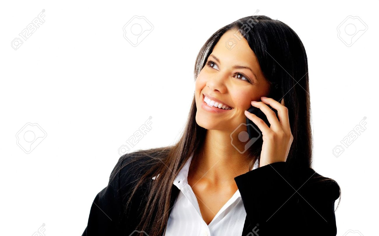 happy confident businesswoman talking on the mobile cell phone isolated on white Stock Photo - 12347498