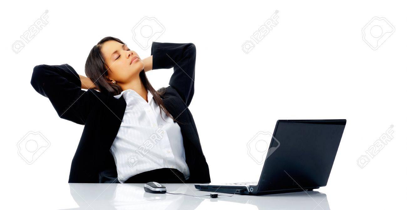 À En Femme Arrière Prend Une Comfotable Son Et De Se Pause Bureau Rêver Travail Sa Penche Dans Chaise Vacances QdeWrBCxoE