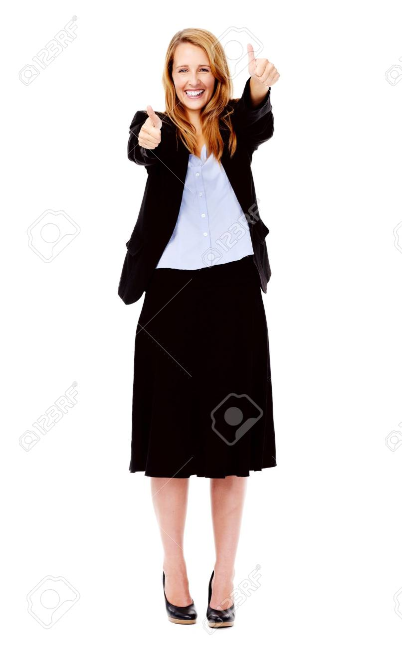 full length business woman thumbs up gesture isolated on white Stock Photo - 13025424