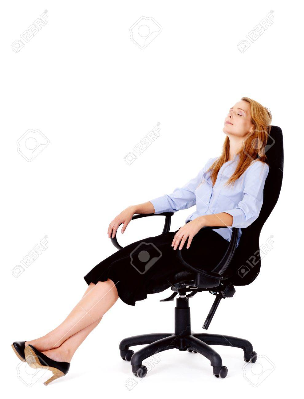 Business Woman Sitting In Office Chair Relaxing Isolated On White Stock Photo Picture And Royalty Free Image Image 13025472