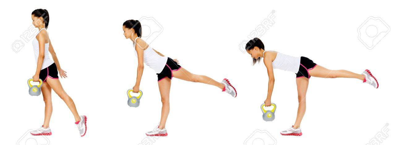 Series of kettlebell weight exercise sequence to promote strength and muscle tone, please see portfolio for more in this series. Stock Photo - 13183273