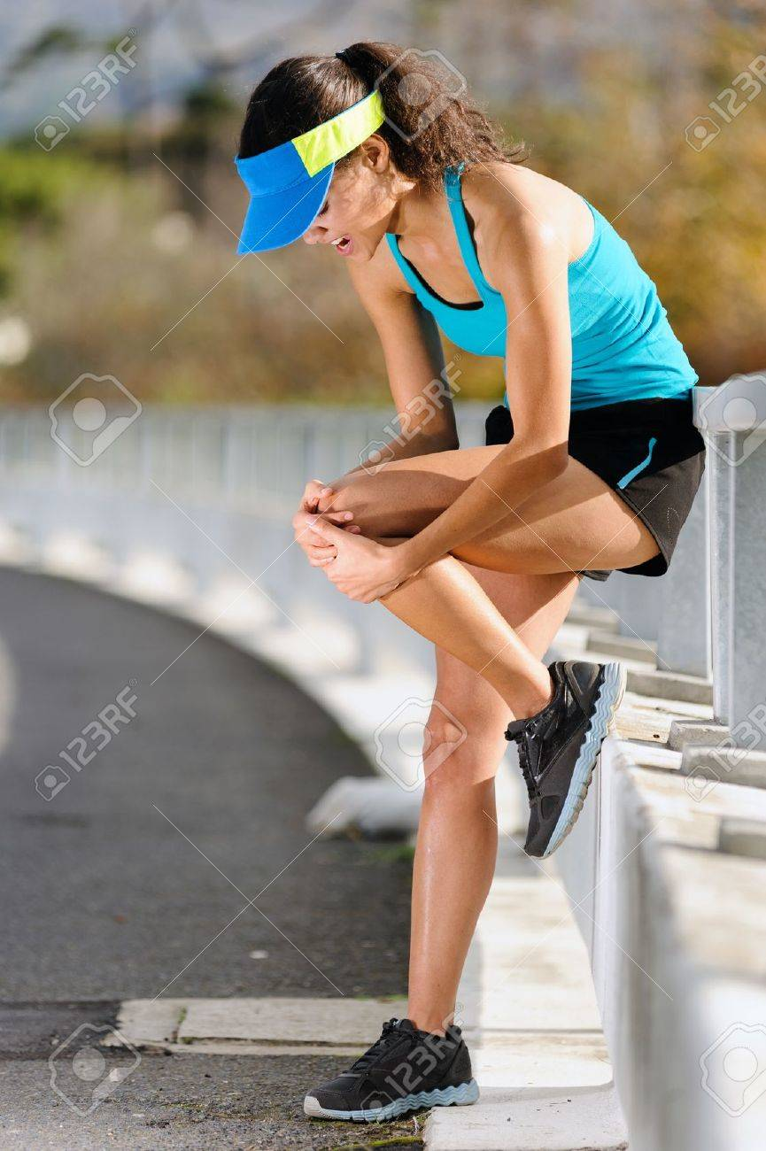 Knee Injury For Athlete Runner Woman In Pain After Hurting Her