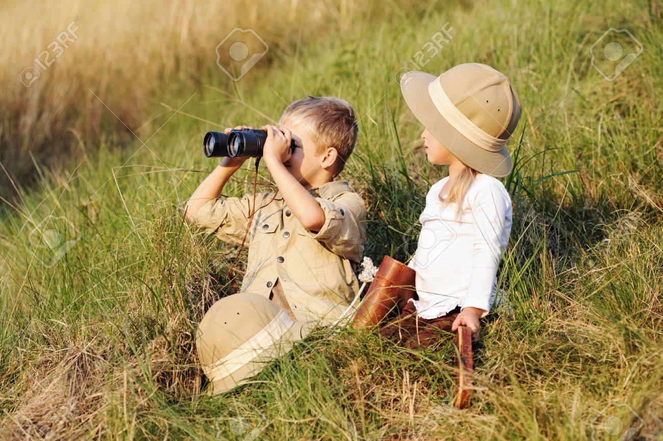 cute children playing pretend safari game together outdoors. happy brother and sister Stock Photo - 14874067