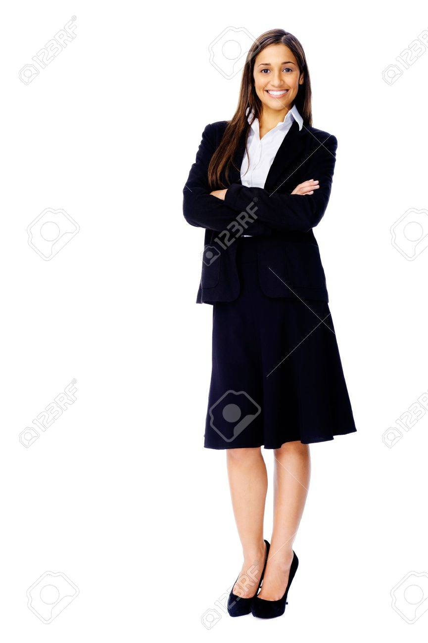 Full length portrait of a confident businesswoman in a suit and heels isolated on white background Stock Photo - 15291335