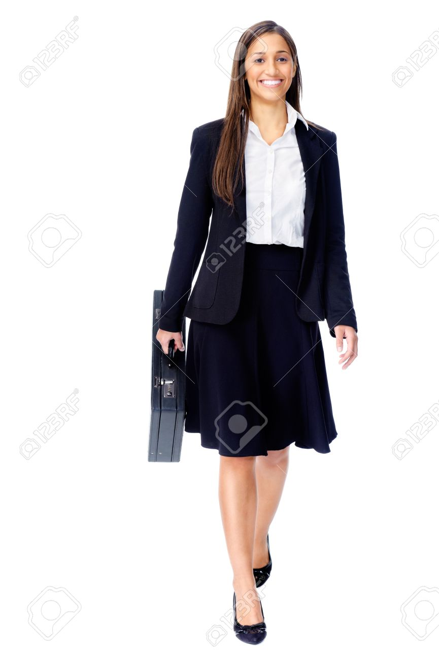Businesswoman wearing suit walking with briefcase isolated on white background Stock Photo - 15291445