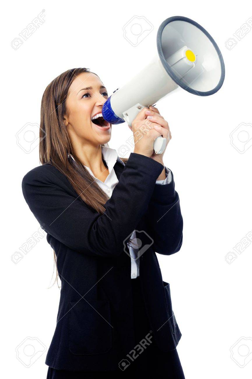 Business Woman With Megaphone Yelling And Screaming Isolated ...