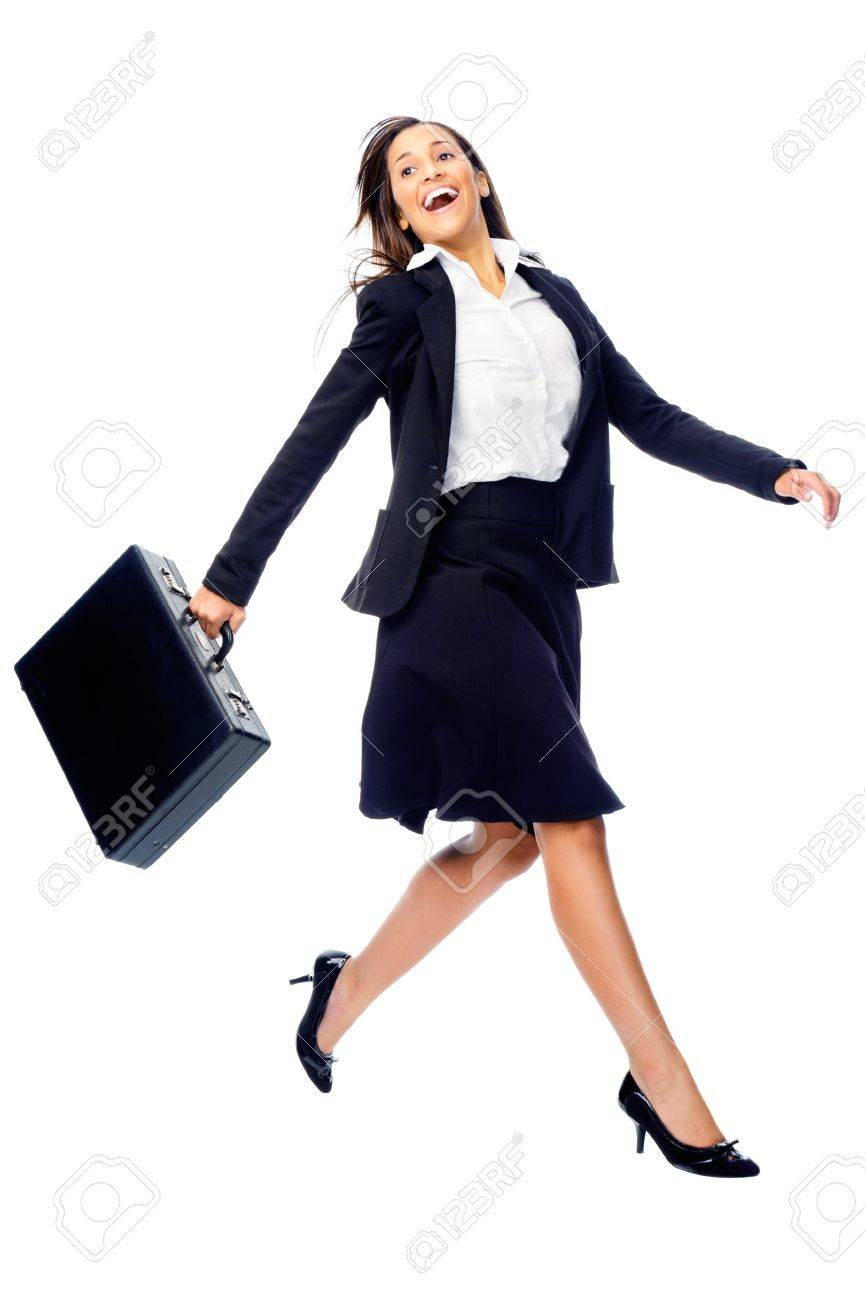 Businesswoman in a hurry rushing and running with briefcase isolated on white background Stock Photo - 15291446