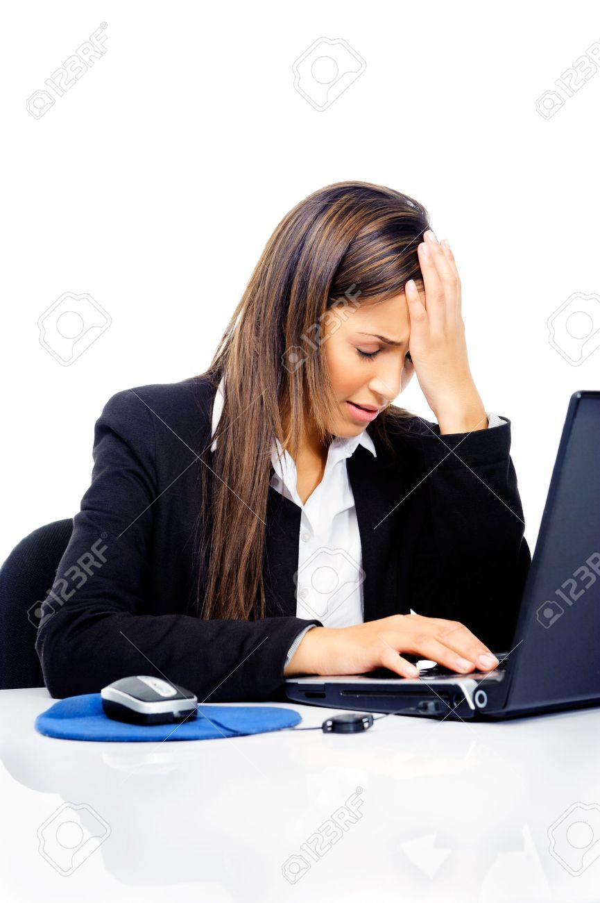 Stressed Businesswoman Is Frustrated And Overworked At Her Desk