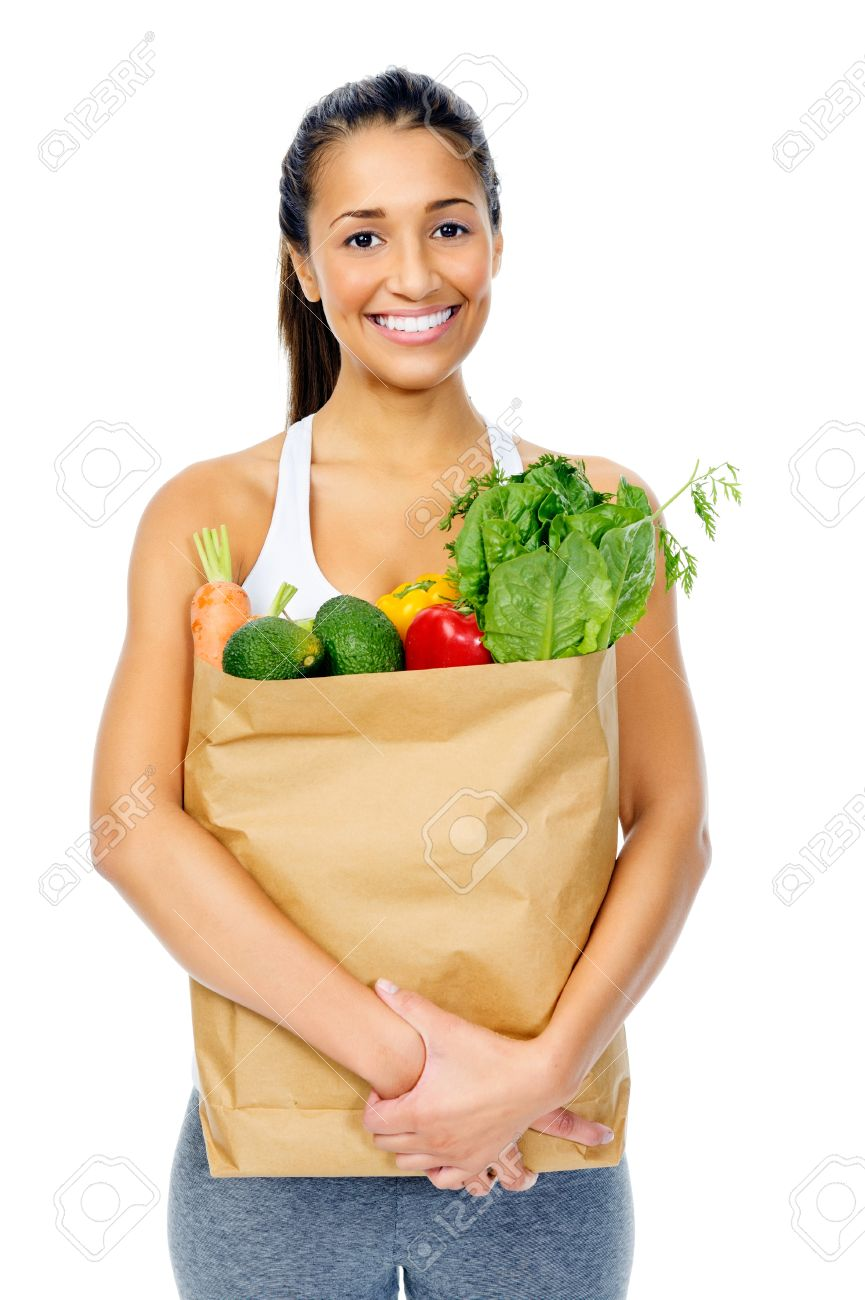 Healthy positive happy woman with paper shopping bag full of organic fruit and vegetables Stock Photo - 15477407