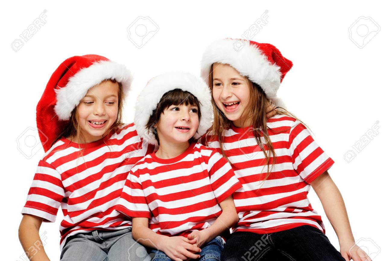 Weihnachten Kinder Spaß Mit Weihnachten Hüte, Geschenk-Box Und ...