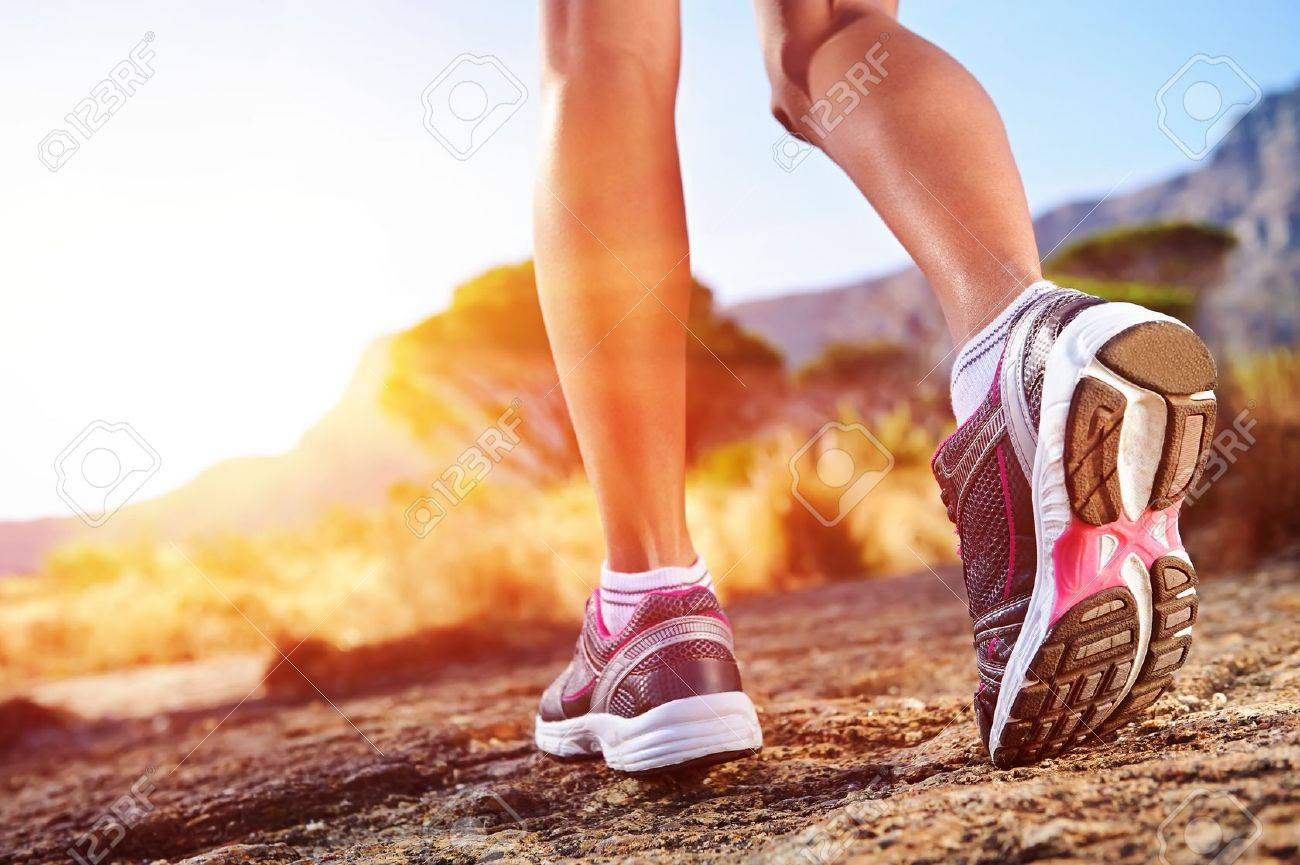 athlete running sport feet on trail healthy lifestyle fitness - 18911557