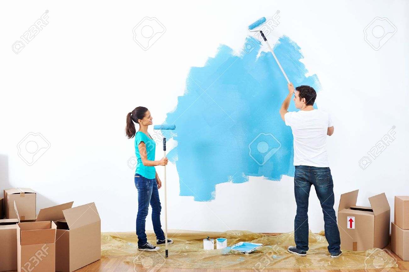 Home Painting house painting stock photos & pictures. royalty free house
