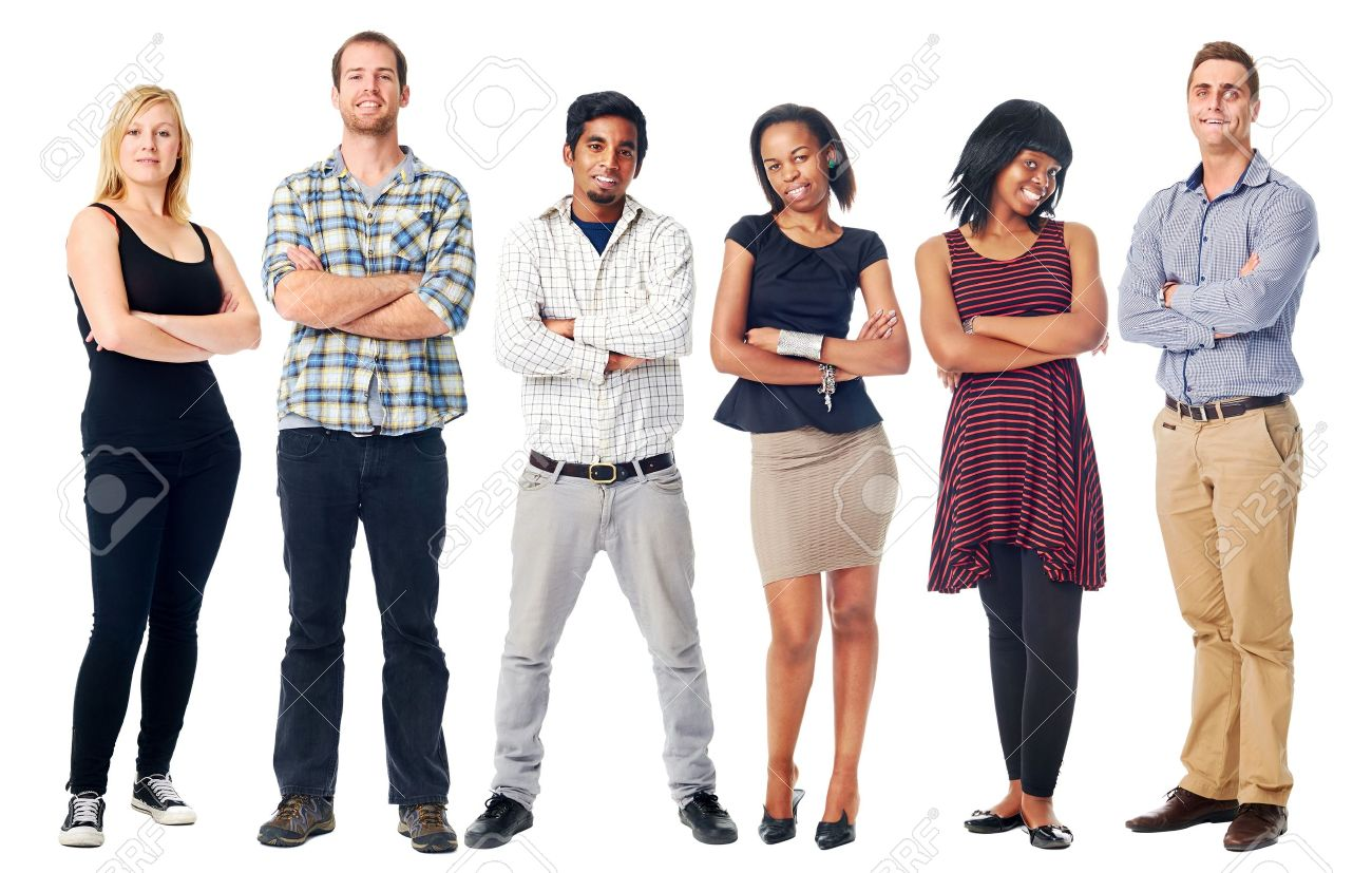 group of real confident people smiling arms crossed isolated on white Stock Photo - 21858514