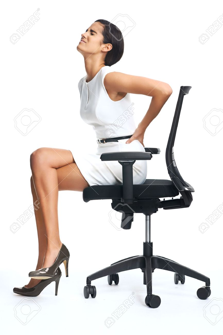 Businesswoman With Lower Back Pain From Sitting On Office Chair - Office chair for back pain