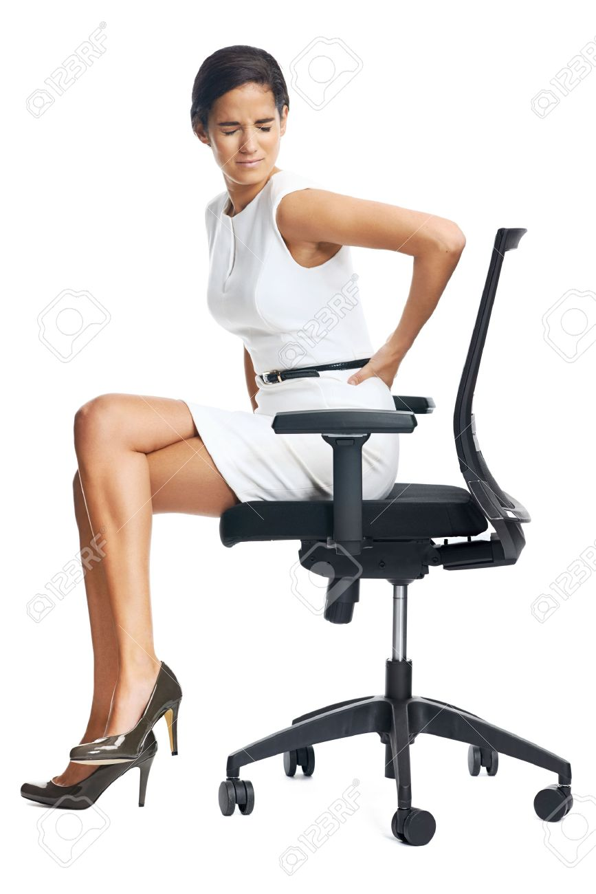 Businesswoman with lower back pain from sitting on office chair Stock Photo - 35066898  sc 1 st  123RF.com & Businesswoman With Lower Back Pain From Sitting On Office Chair ...