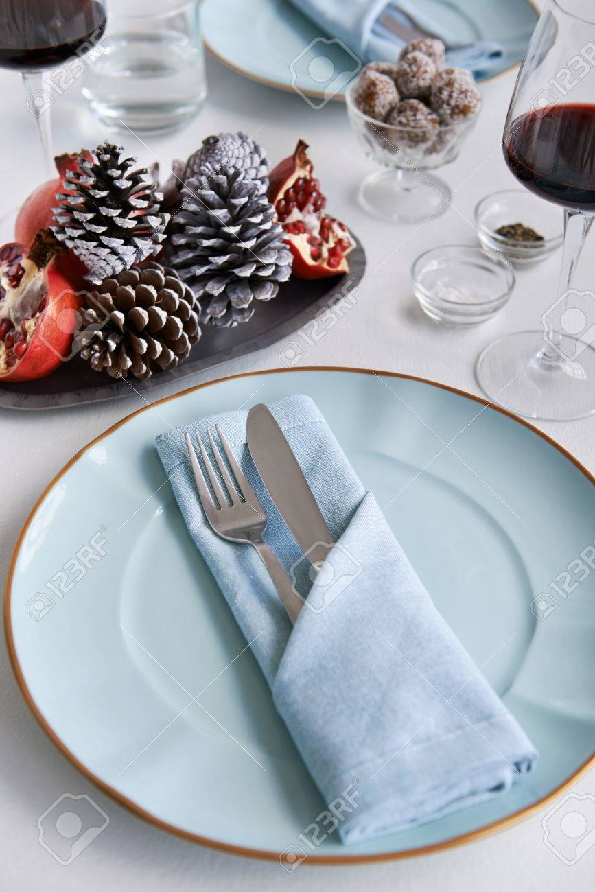 Party place table setting for christmas holidays folded napkin with silverware Stock Photo - 44451986 & Party Place Table Setting For Christmas Holidays Folded Napkin ...