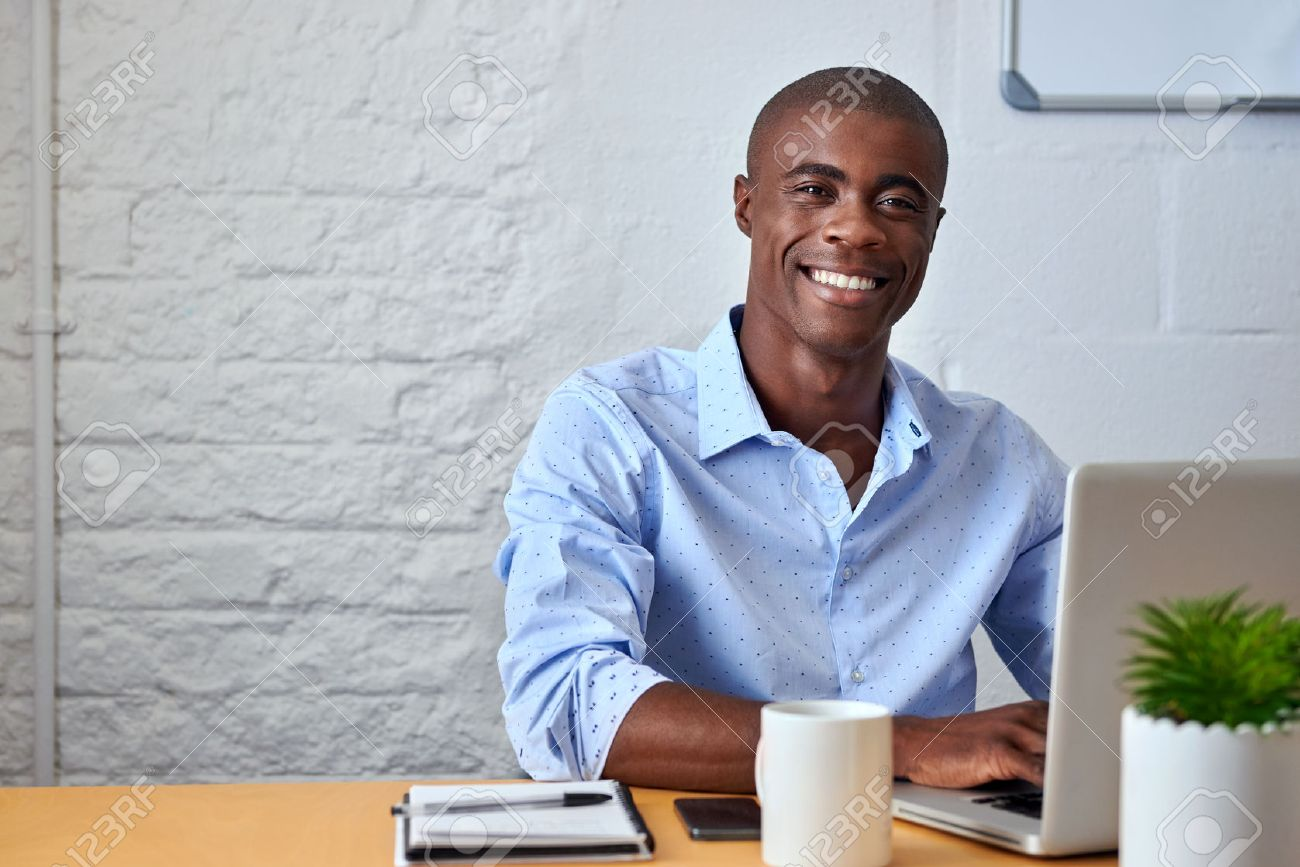 Portrait Of Handsome African Black Young Business Man Working.. Stock  Photo, Picture And Royalty Free Image. Image 45971876.