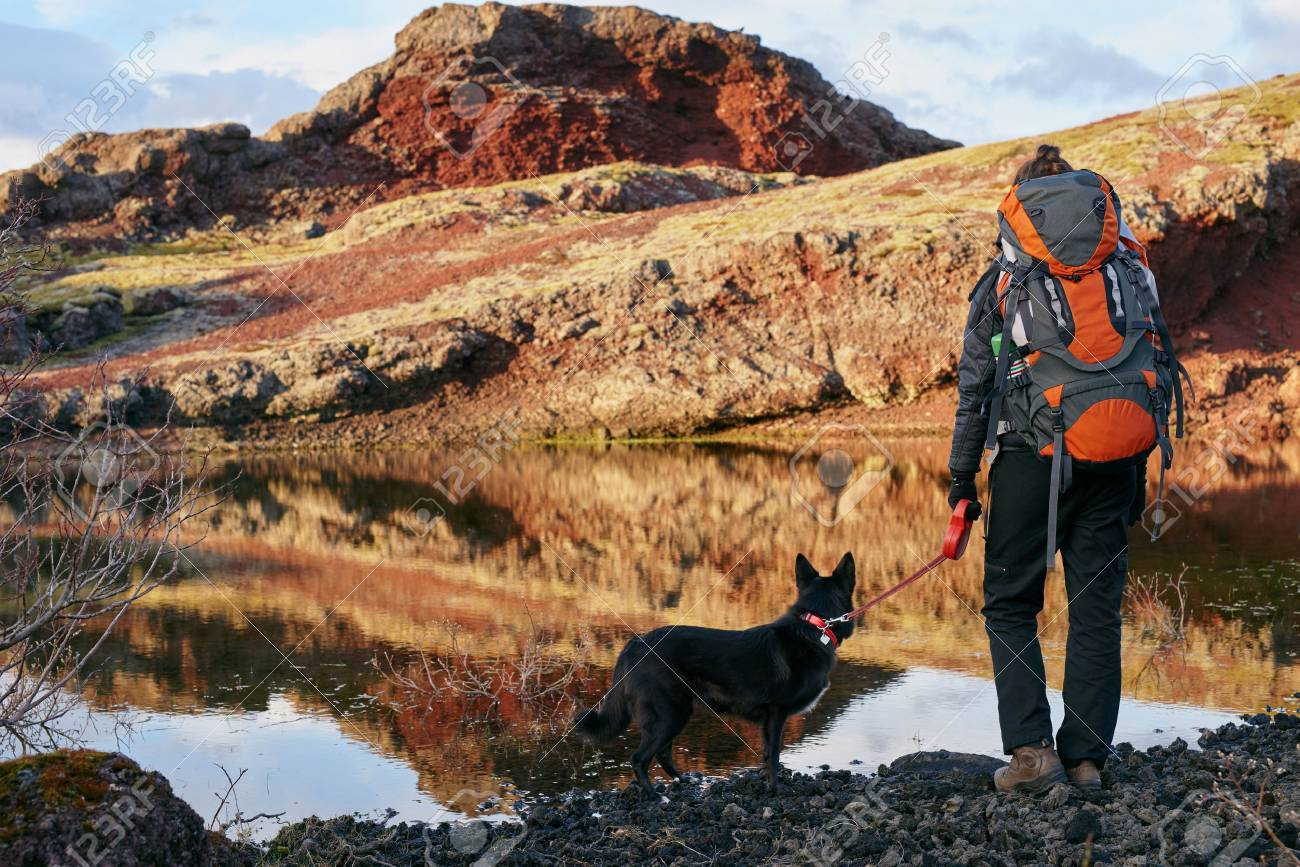 Woman with backpack and pet dog looking over the scenic lake and enjoying the view after a hard hike - 54381061