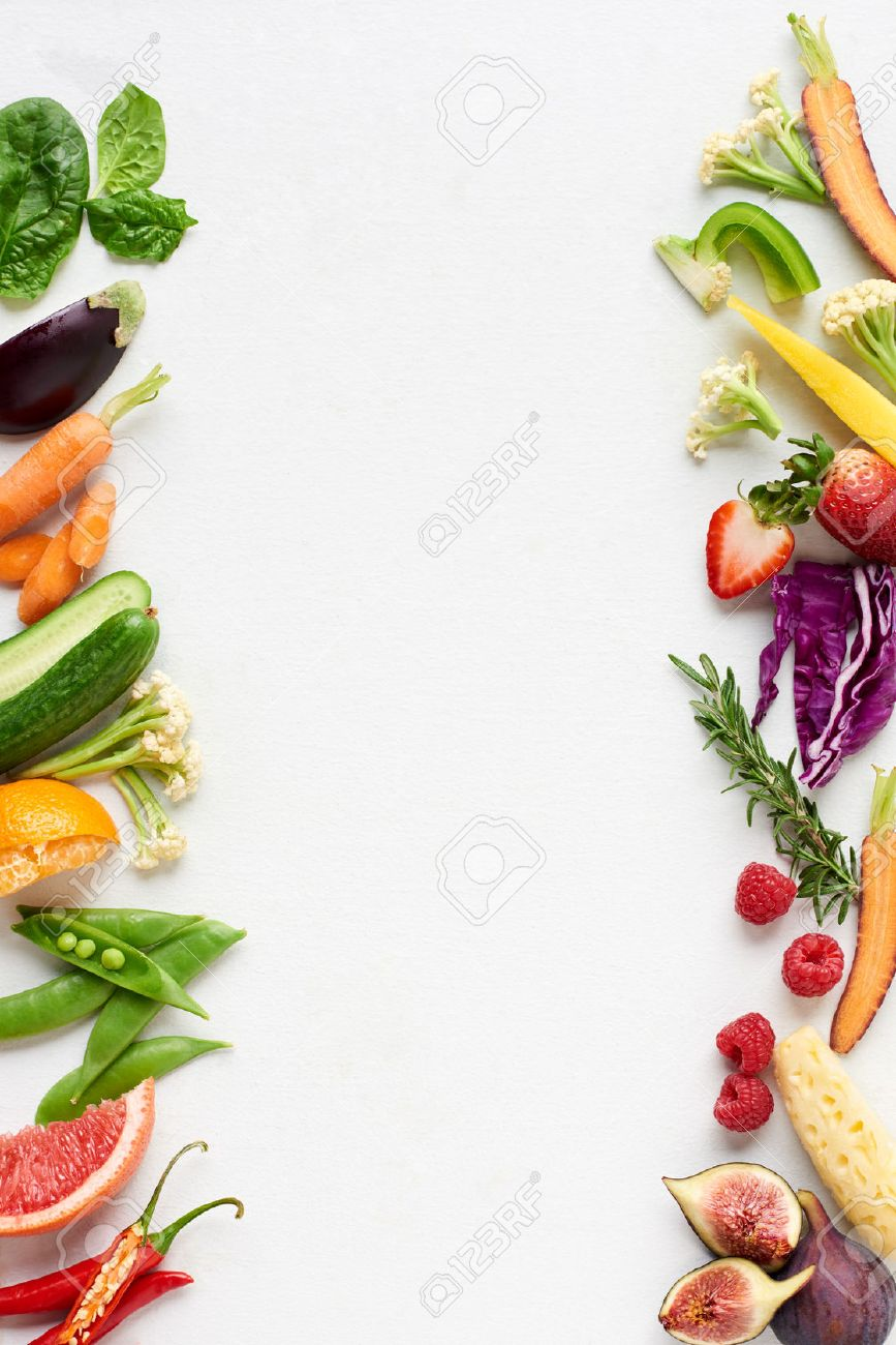 Fresh produce background side border of organic produce colourful fruit and veg, carrot chilli cucumber purple cabbage spinach rosemary herb, poster - 61082882
