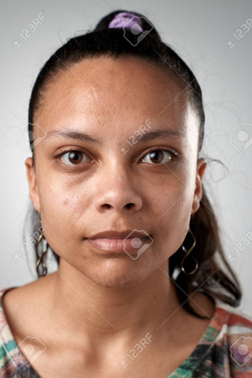 Portrait of real hispanic woman with no expression ID or passport photo full collection of diverse face and expressions - 65424466