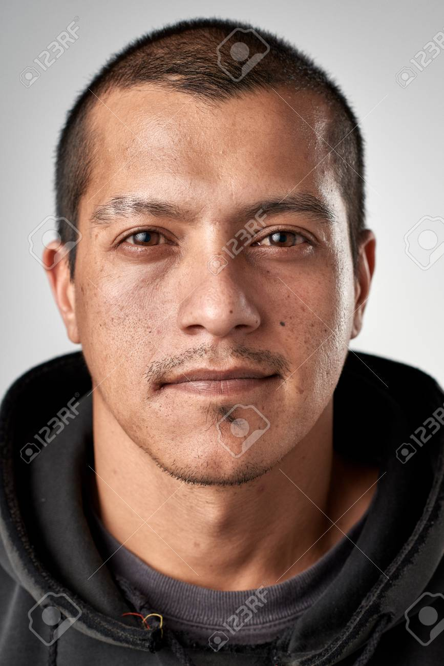 Portrait of real white caucasian man with no expression ID or passport photo full collection of diverse face and expressions - 65426145