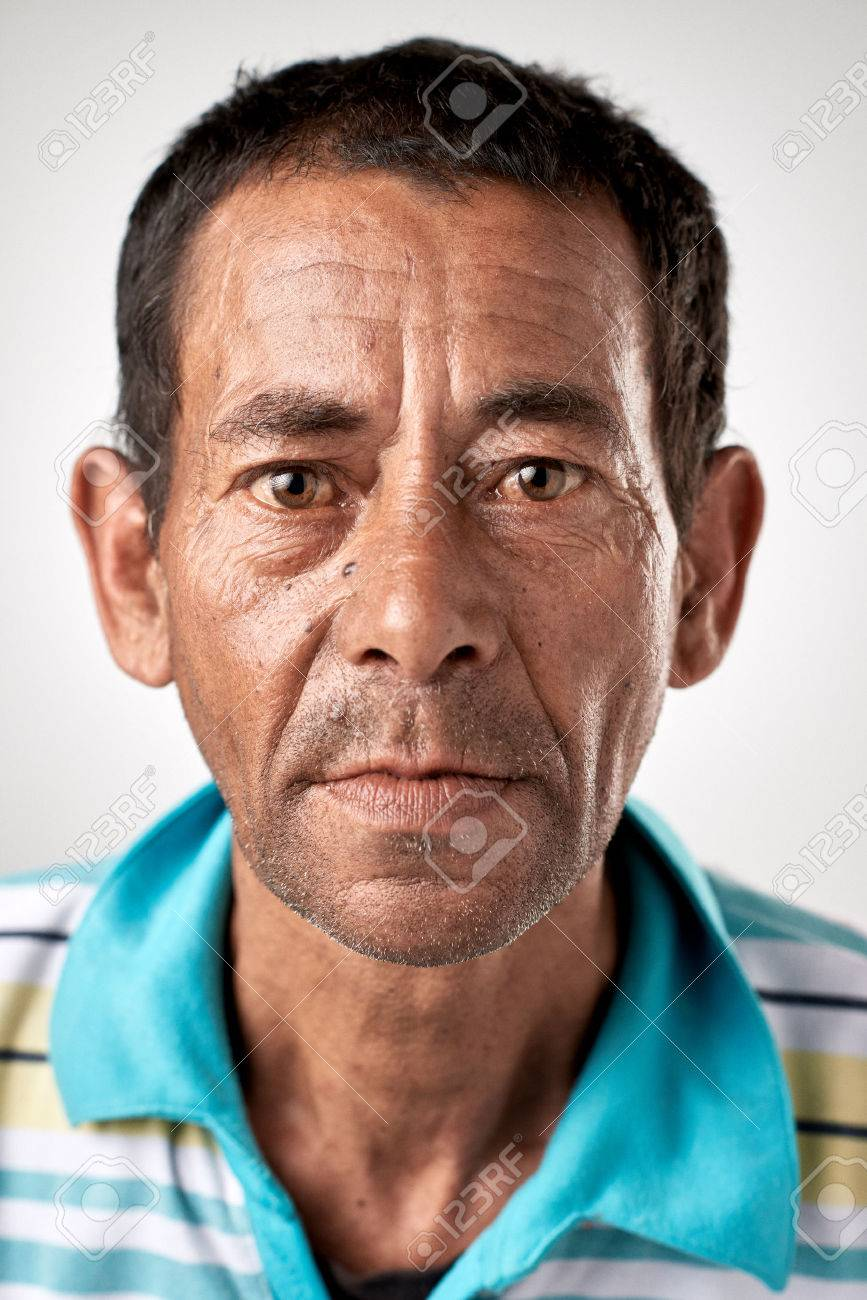 Portrait of real white caucasian man with no expression ID or passport photo full collection of diverse face and expressions - 65513779