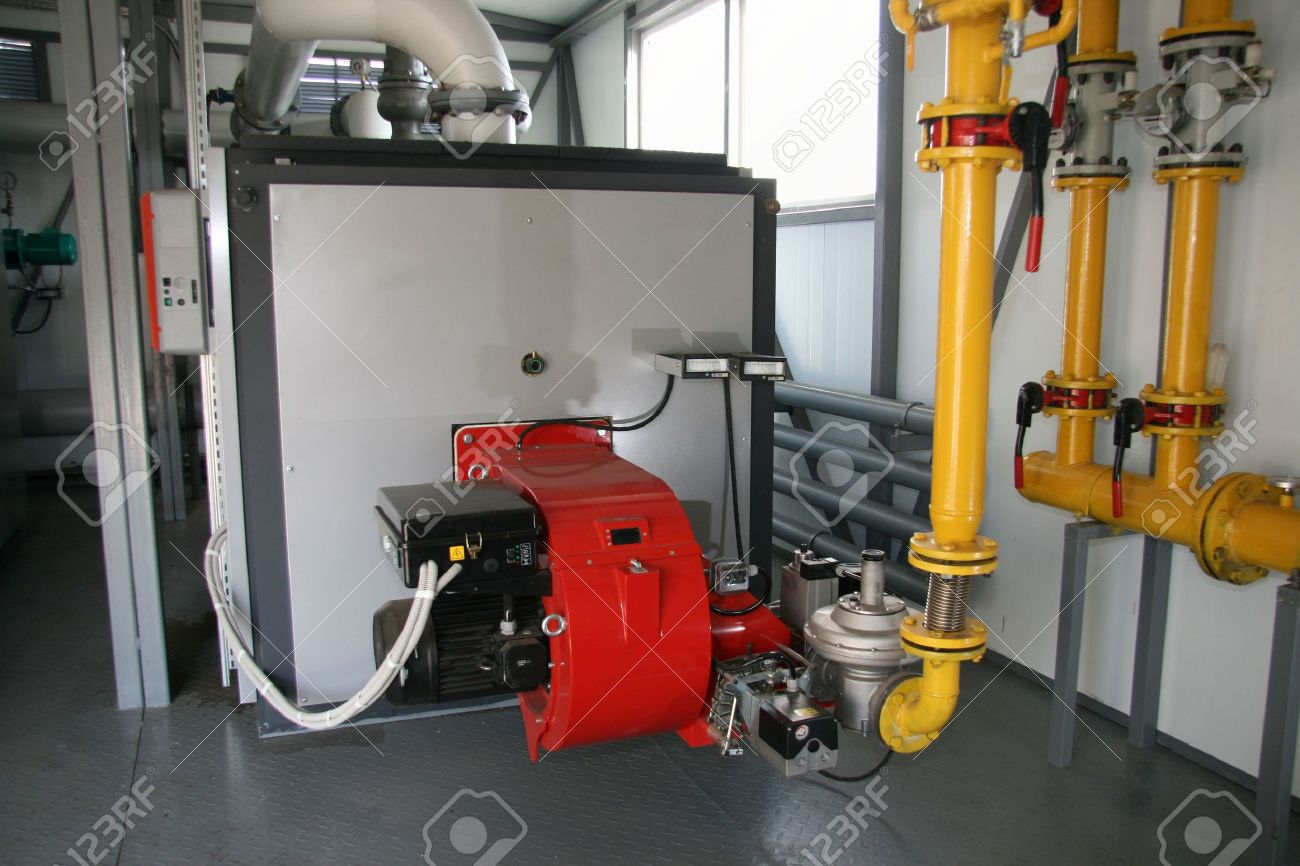 The gas steel boiler established in modern independent boiler-house Stock Photo - 2894186