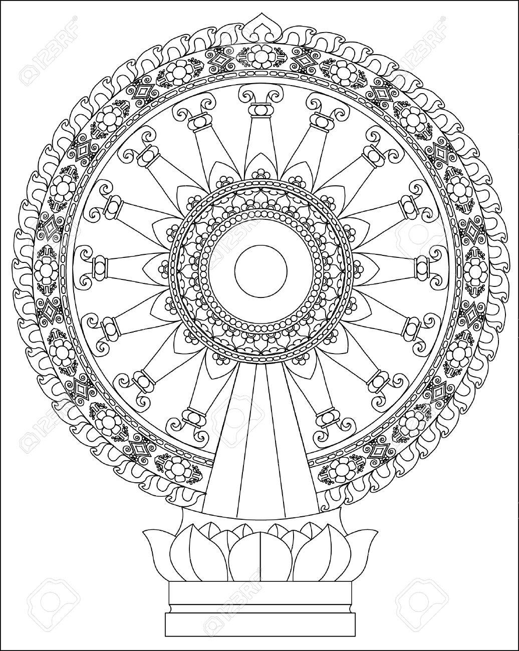 wheel of dhamma wheel of life royalty free cliparts vectors and