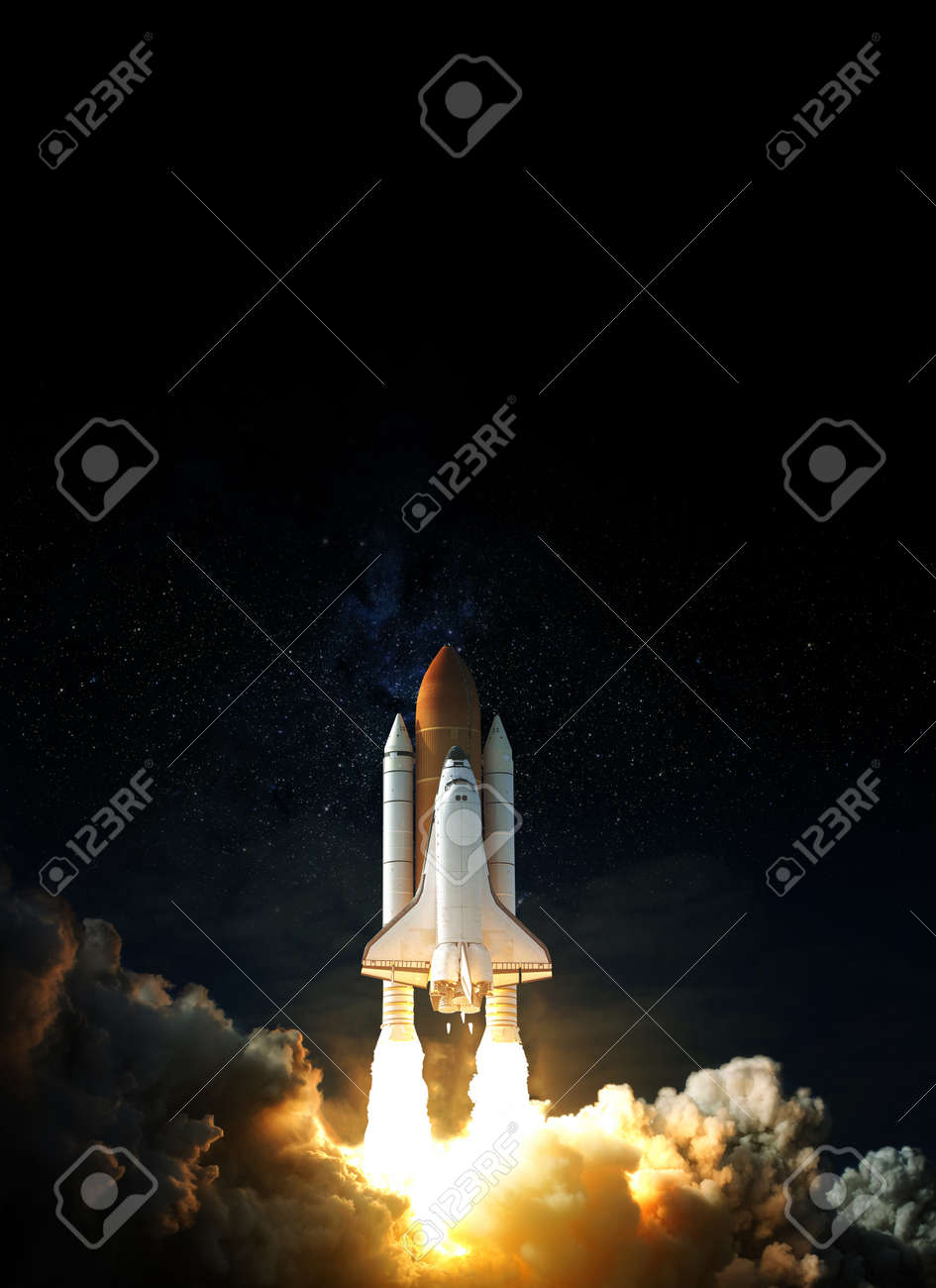 Space Shuttle takes off into space. Elements of this image. - 168822247