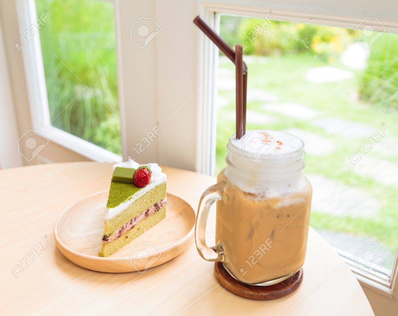Ice Coffee With Japanese Matcha Green Tea Cake Red Bean Cream