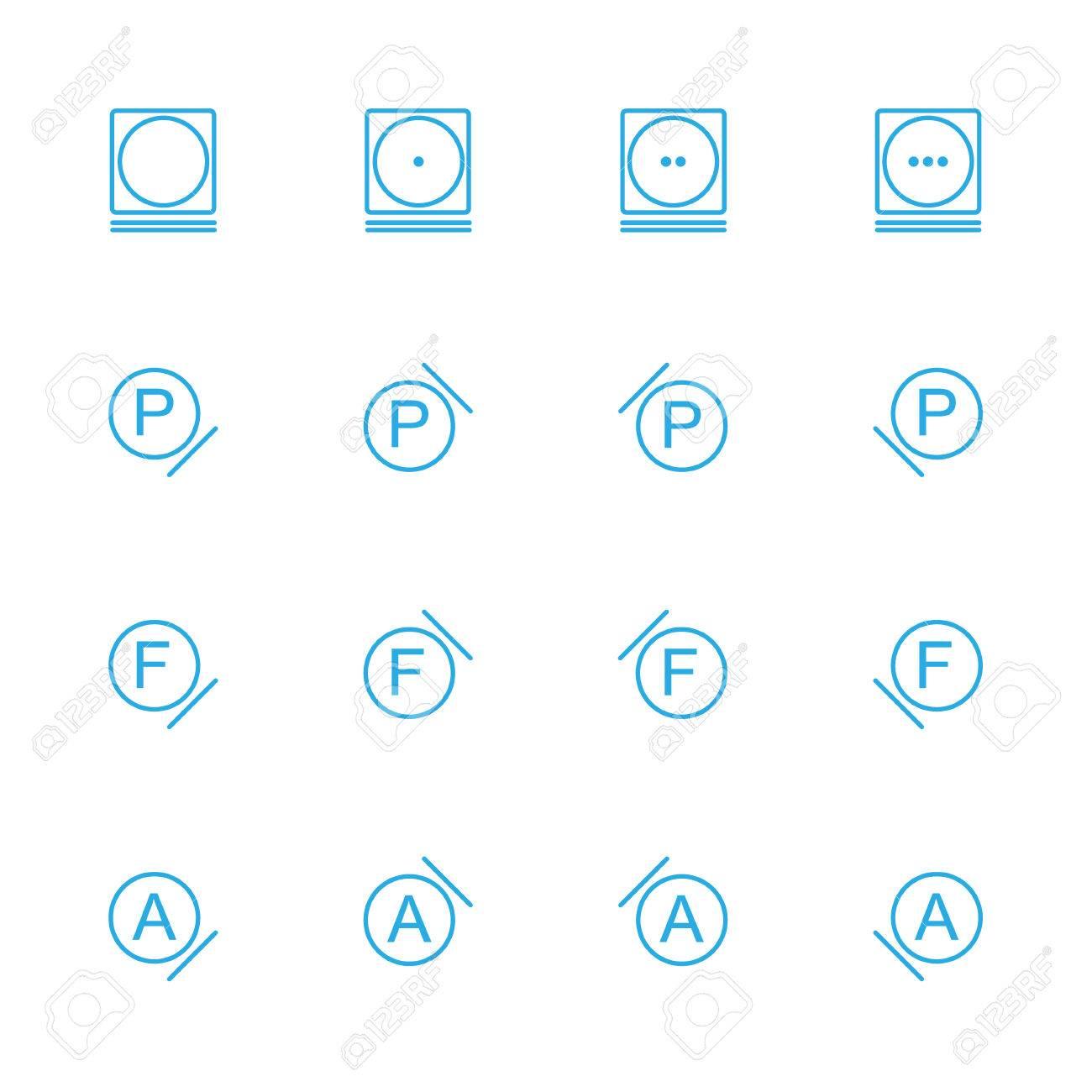 Laundry Line Blue Icons Washing Instruction Line Blue Icons