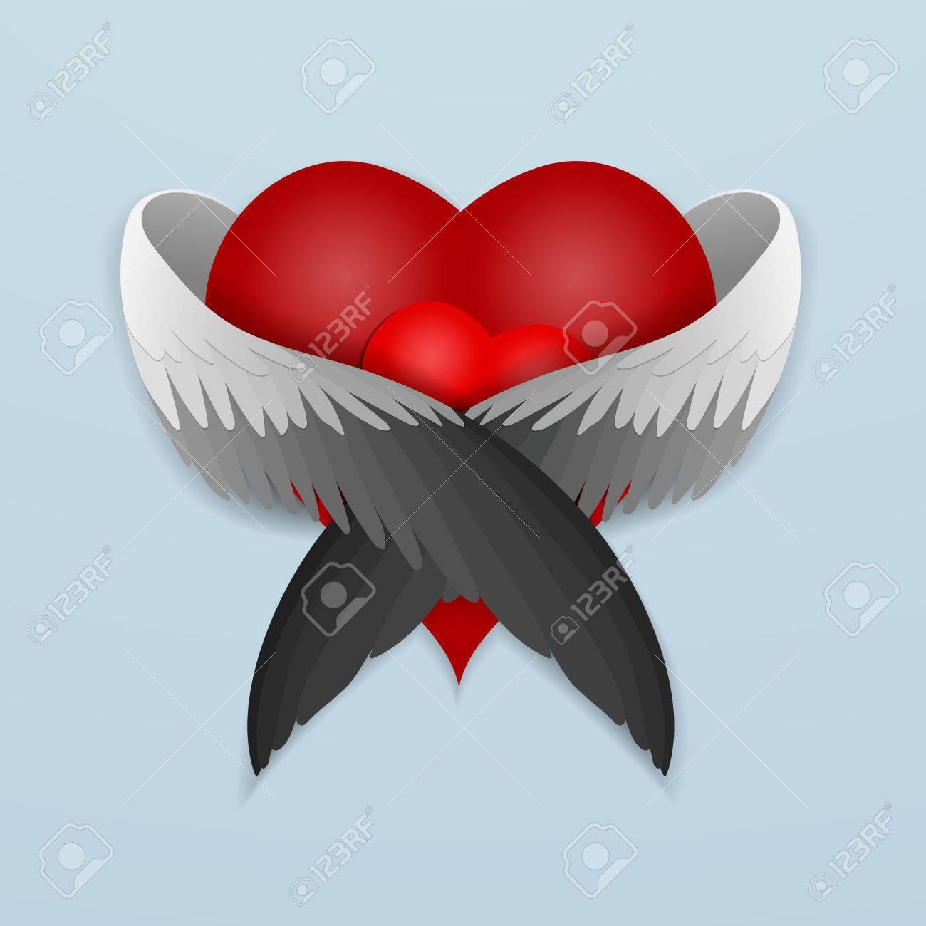 El Corazón Rojo Con Alas Abrazando Con Amor Del Corazón