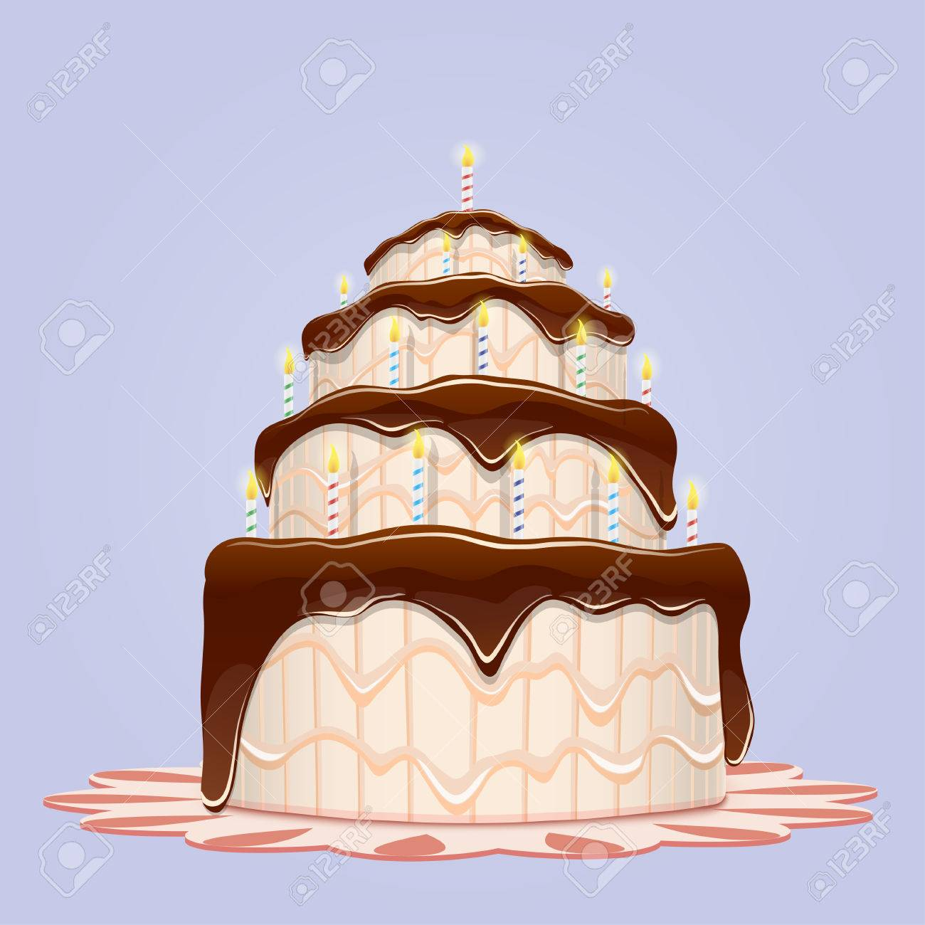 Big Birthday Cake With Candles Vector Illustration Stock